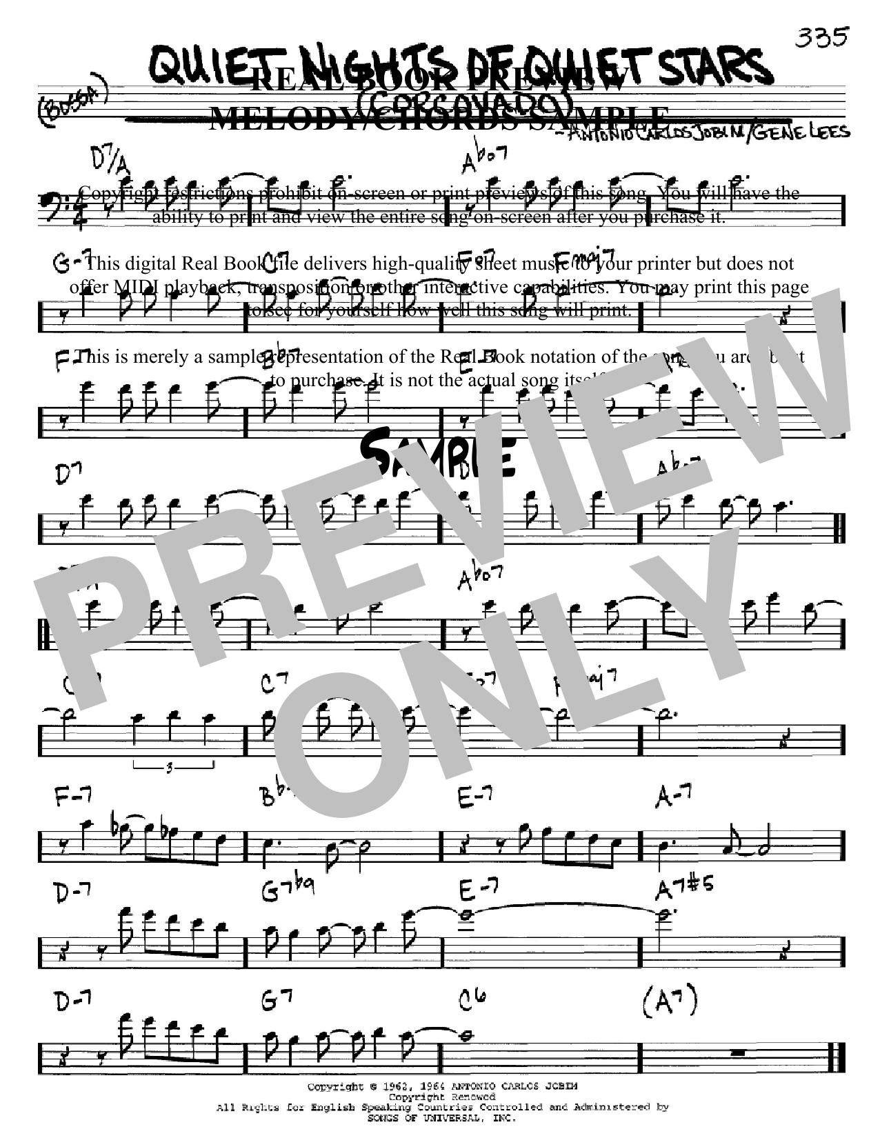 Partition autre Corcovado (Quiet Nights Of Quiet Stars) de Antonio Carlos Jobim - Real Book, Melodie et Accords, Inst. En cle de Fa