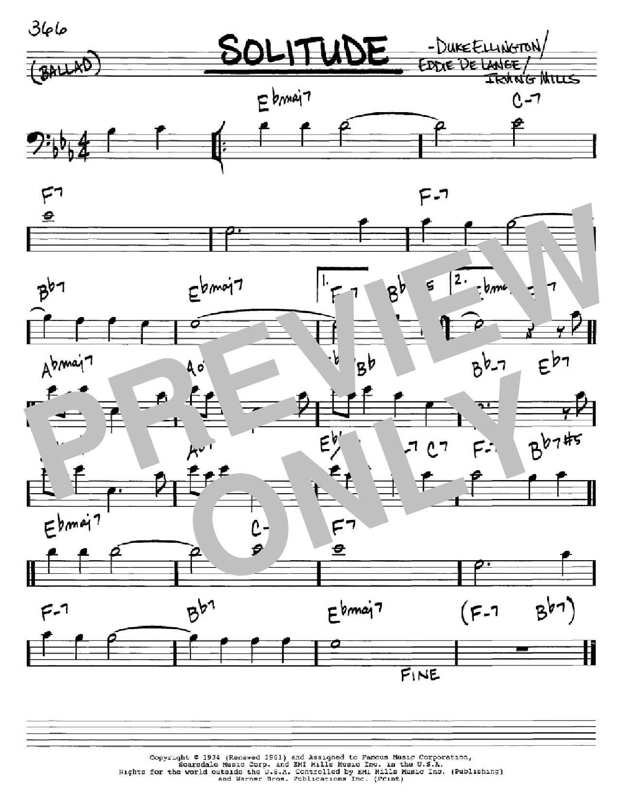 Partition autre Solitude de Duke Ellington - Real Book, Melodie et Accords, Inst. En cle de Fa