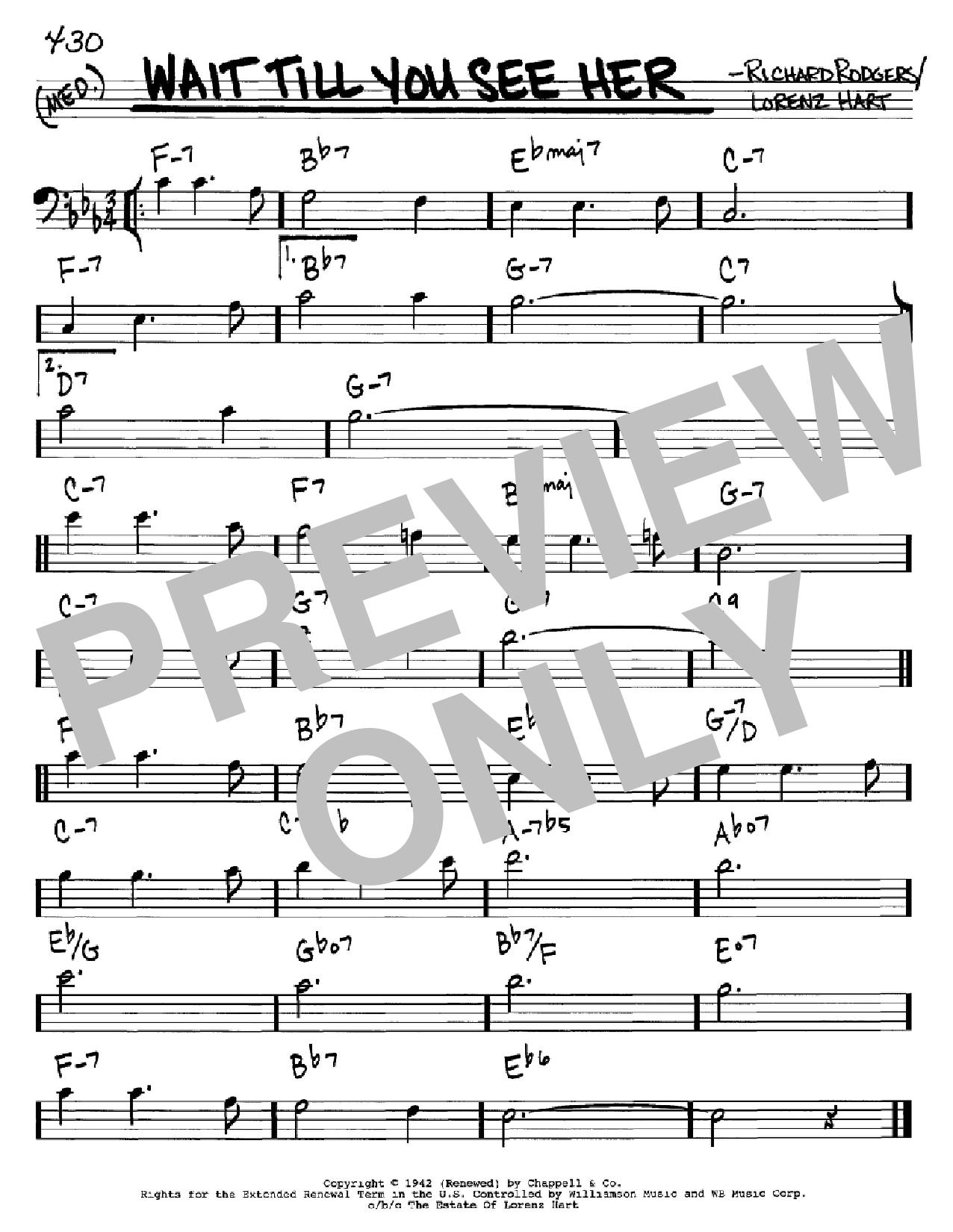 Partition autre Wait Till You See Her de Rodgers & Hart - Real Book, Melodie et Accords, Inst. En cle de Fa