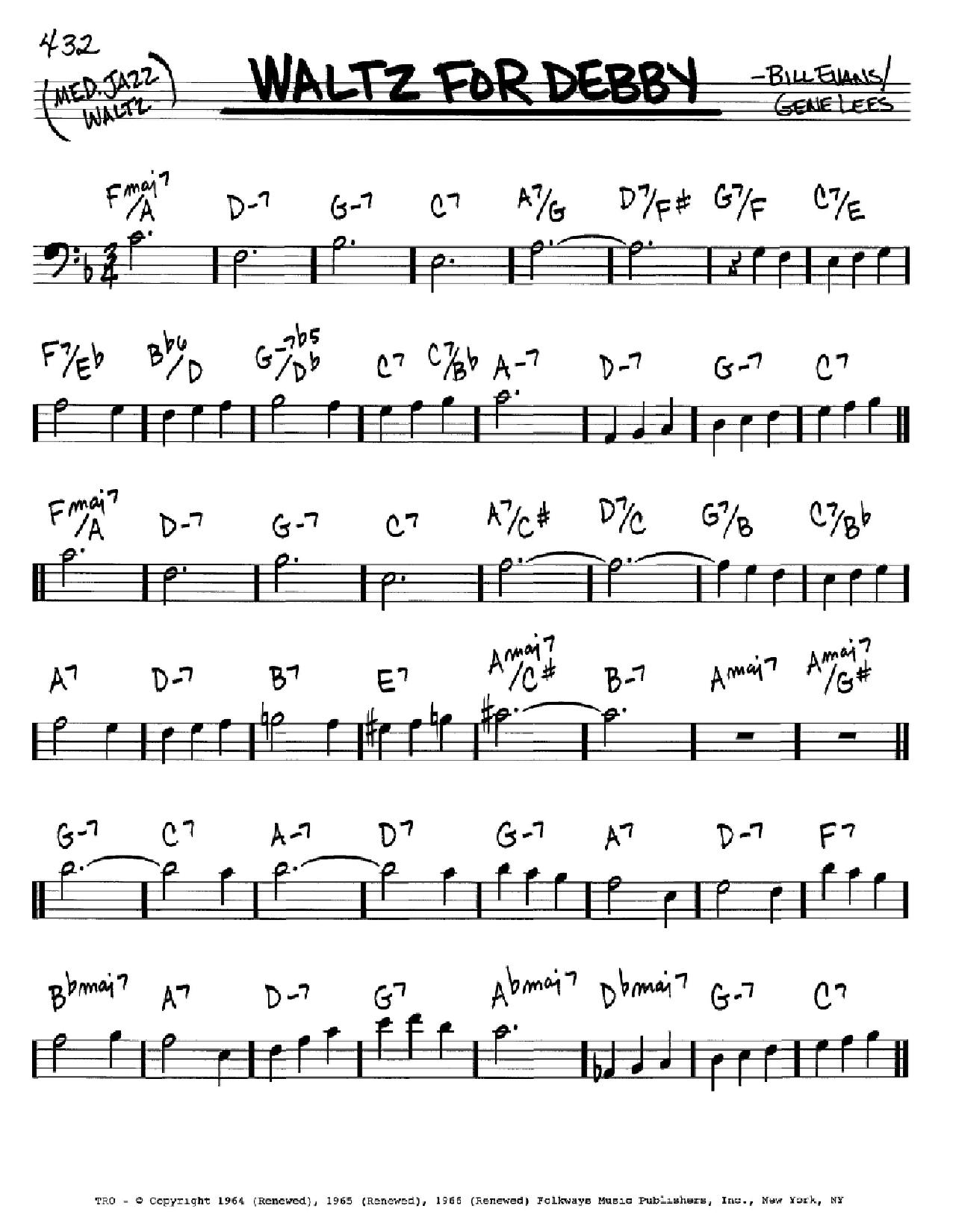 Partition autre Waltz For Debby de Bill Evans - Real Book, Melodie et Accords, Inst. En cle de Fa