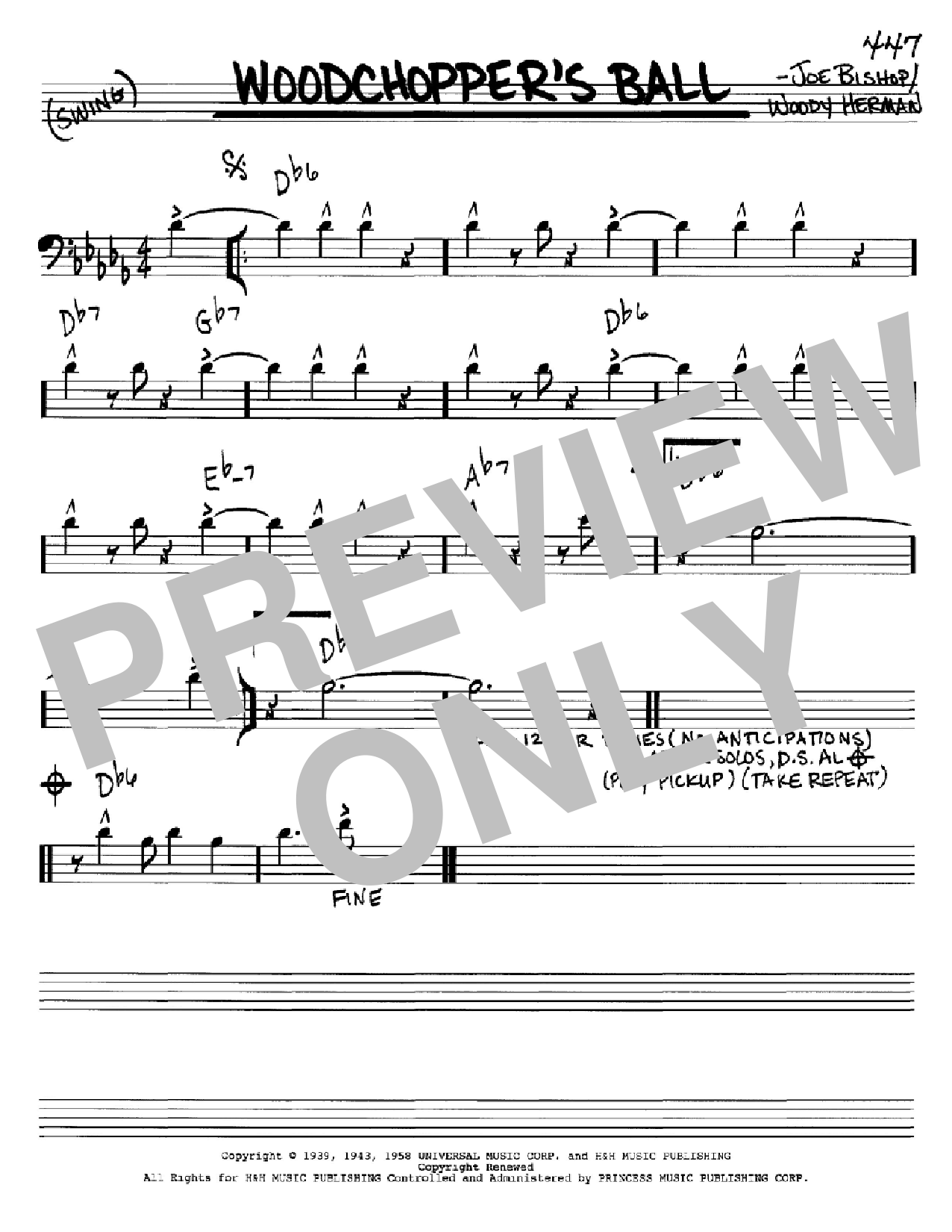 Woodchopper's Ball sheet music for voice and other instruments (Bass Clef ) by Joe Bishop