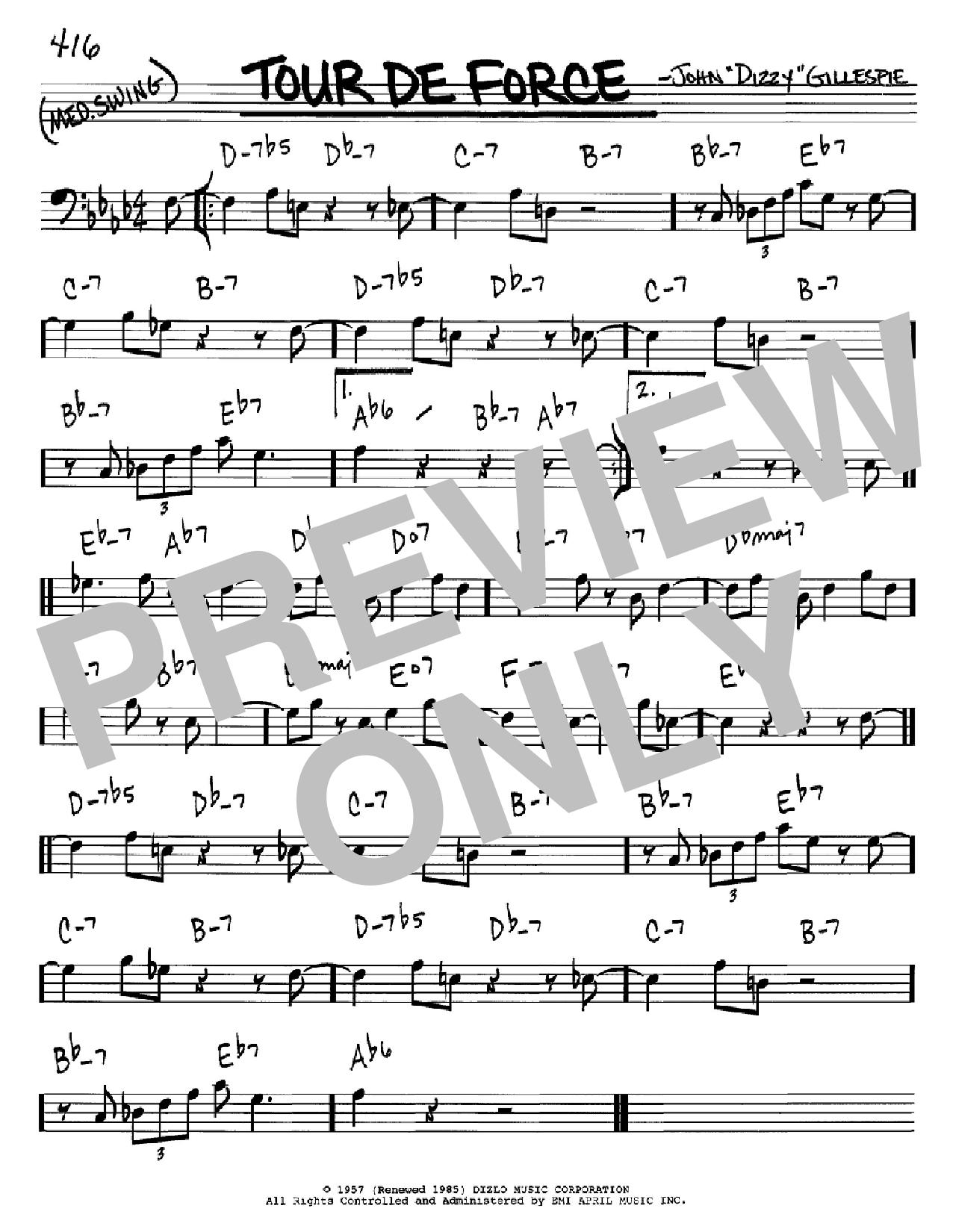 Partition autre Tour De Force de Dizzy Gillespie - Real Book, Melodie et Accords, Inst. En cle de Fa