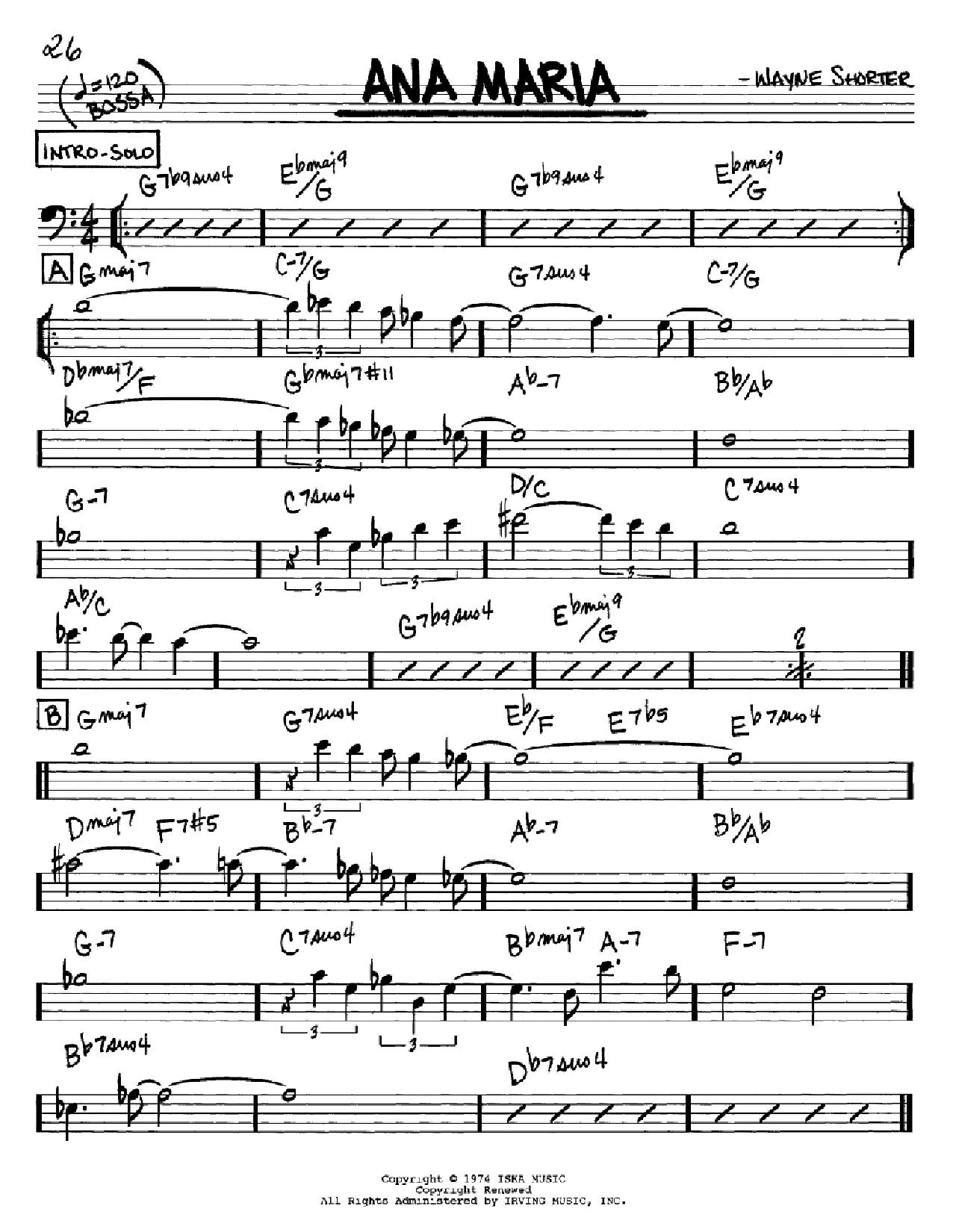 Partition autre Ana Maria de Wayne Shorter - Real Book, Melodie et Accords, Inst. En cle de Fa