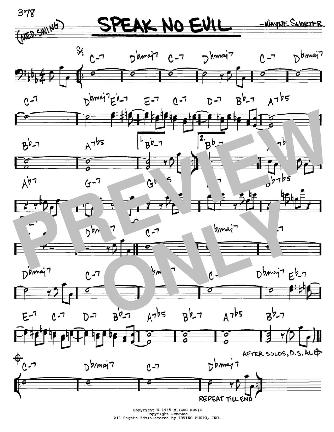 Partition autre Speak No Evil de Wayne Shorter - Real Book, Melodie et Accords, Inst. En cle de Fa