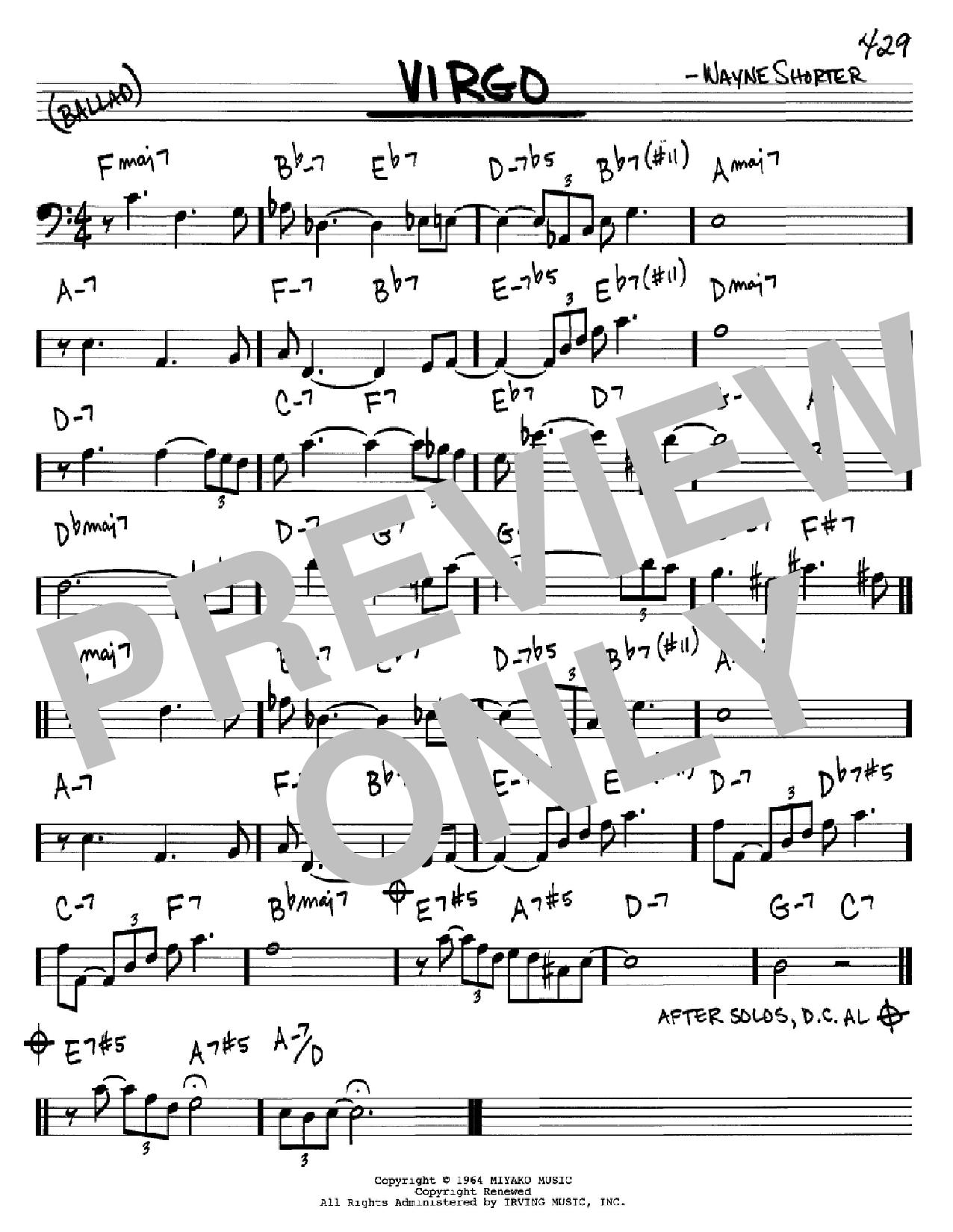 Partition autre Virgo de Wayne Shorter - Real Book, Melodie et Accords, Inst. En cle de Fa