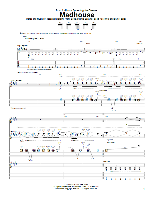 Tablature guitare Madhouse de Anthrax - Tablature Guitare