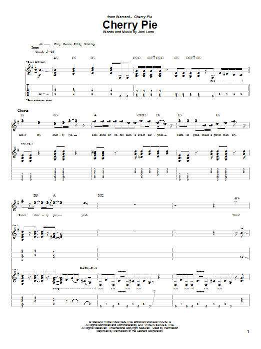 Tablature guitare Cherry Pie de Warrant - Tablature Guitare