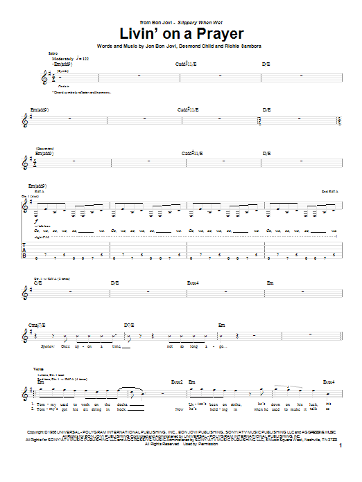 Tablature guitare Livin' On A Prayer de Bon Jovi - Tablature Guitare