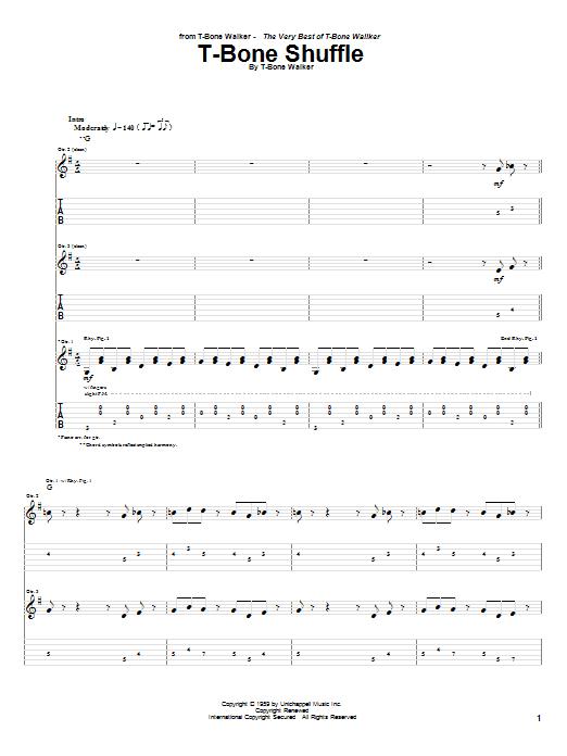 Tablature guitare T-Bone Shuffle de T-Bone Walker - Tablature Guitare