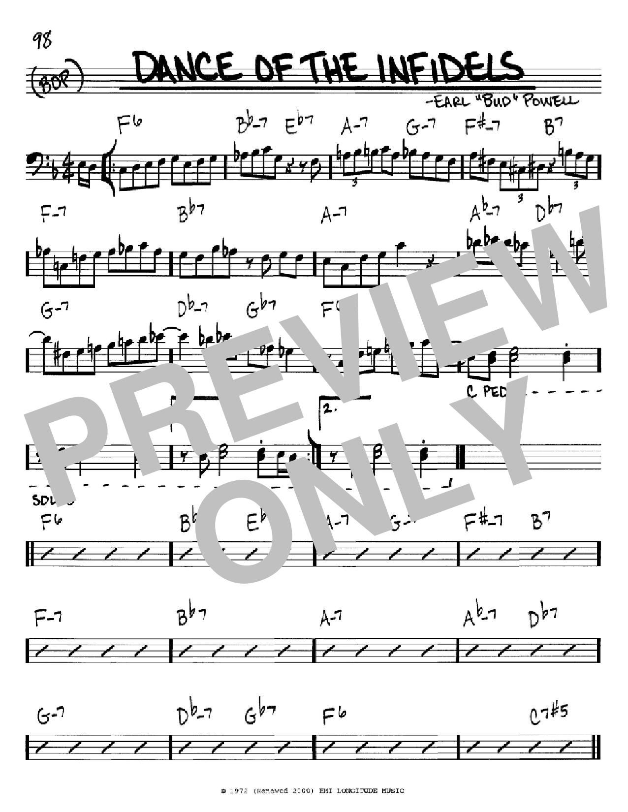 Partition autre Dance Of The Infidels de Bud Powell - Real Book, Melodie et Accords, Inst. En cle de Fa