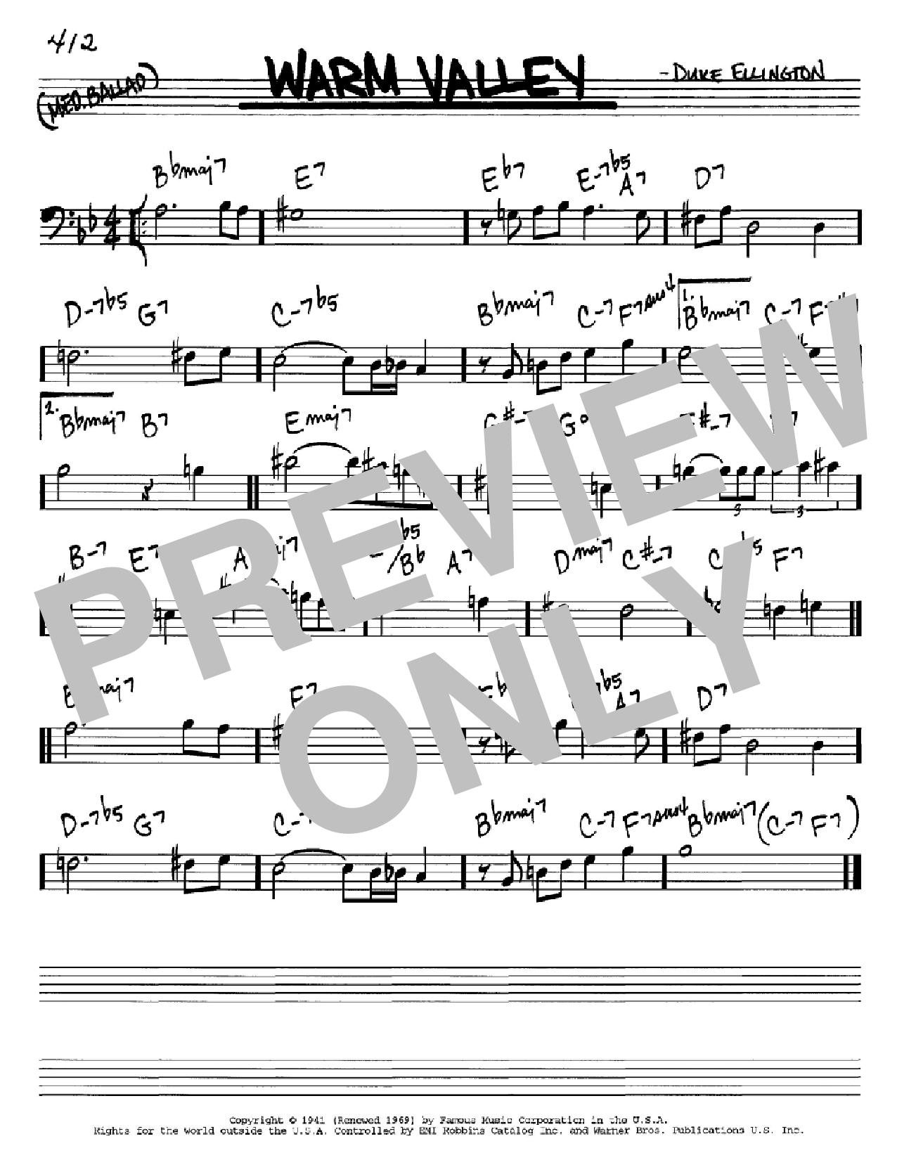 Partition autre Warm Valley de Duke Ellington - Real Book, Melodie et Accords, Inst. En cle de Fa
