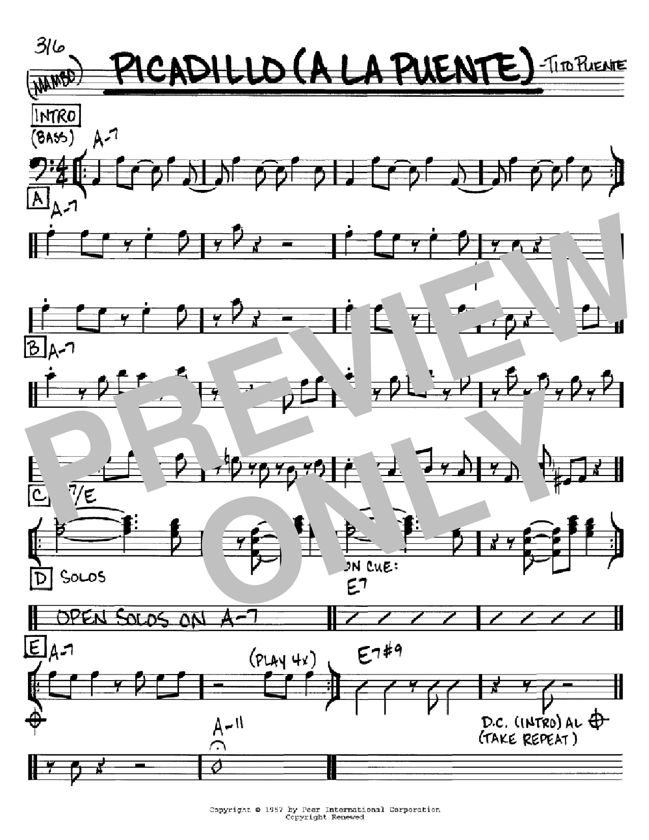 Picadillo (a la Puente) sheet music for voice and other instruments (Bass Clef ) by Tito Puente