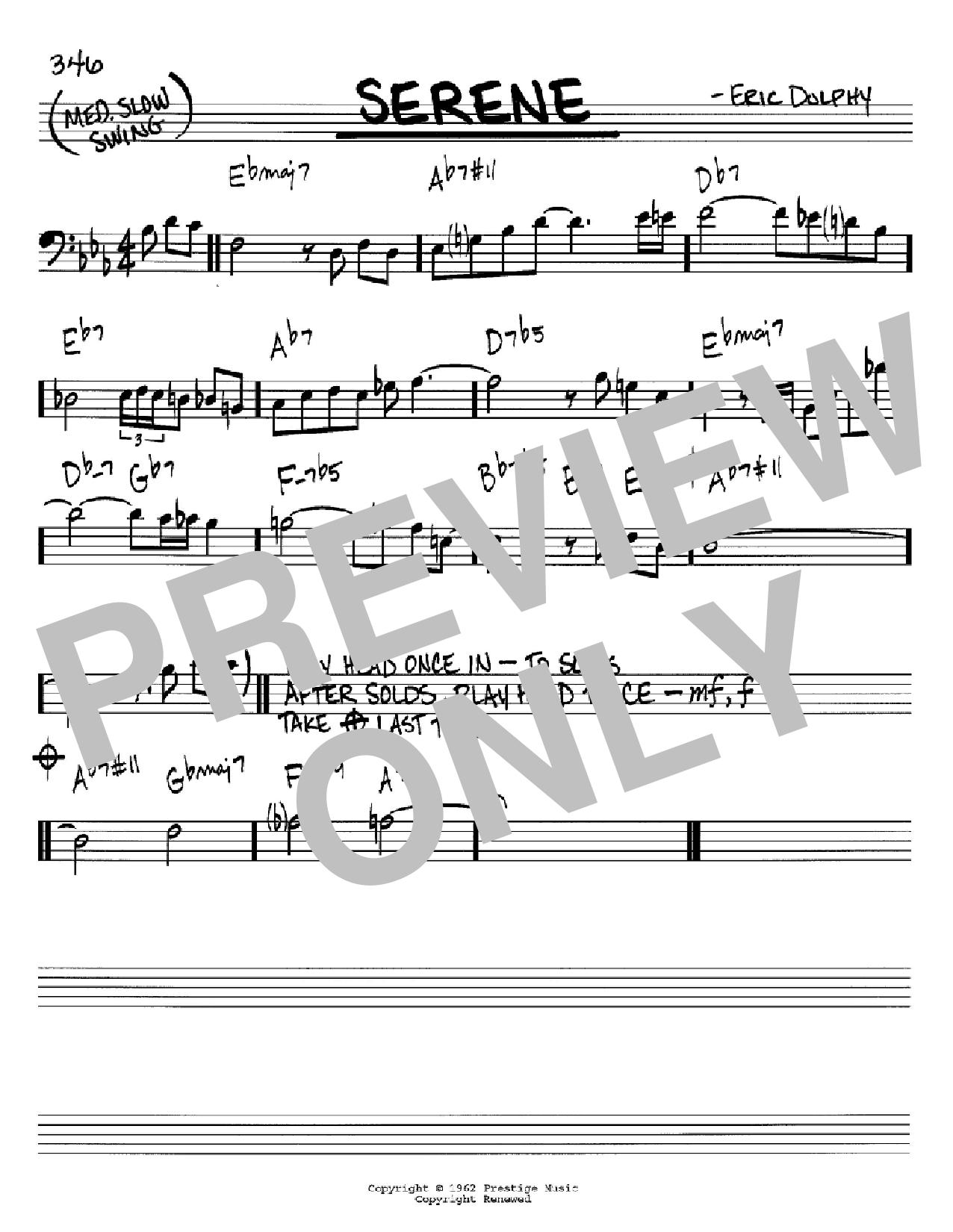 Partition autre Serene de Eric Dolphy - Real Book, Melodie et Accords, Inst. En cle de Fa