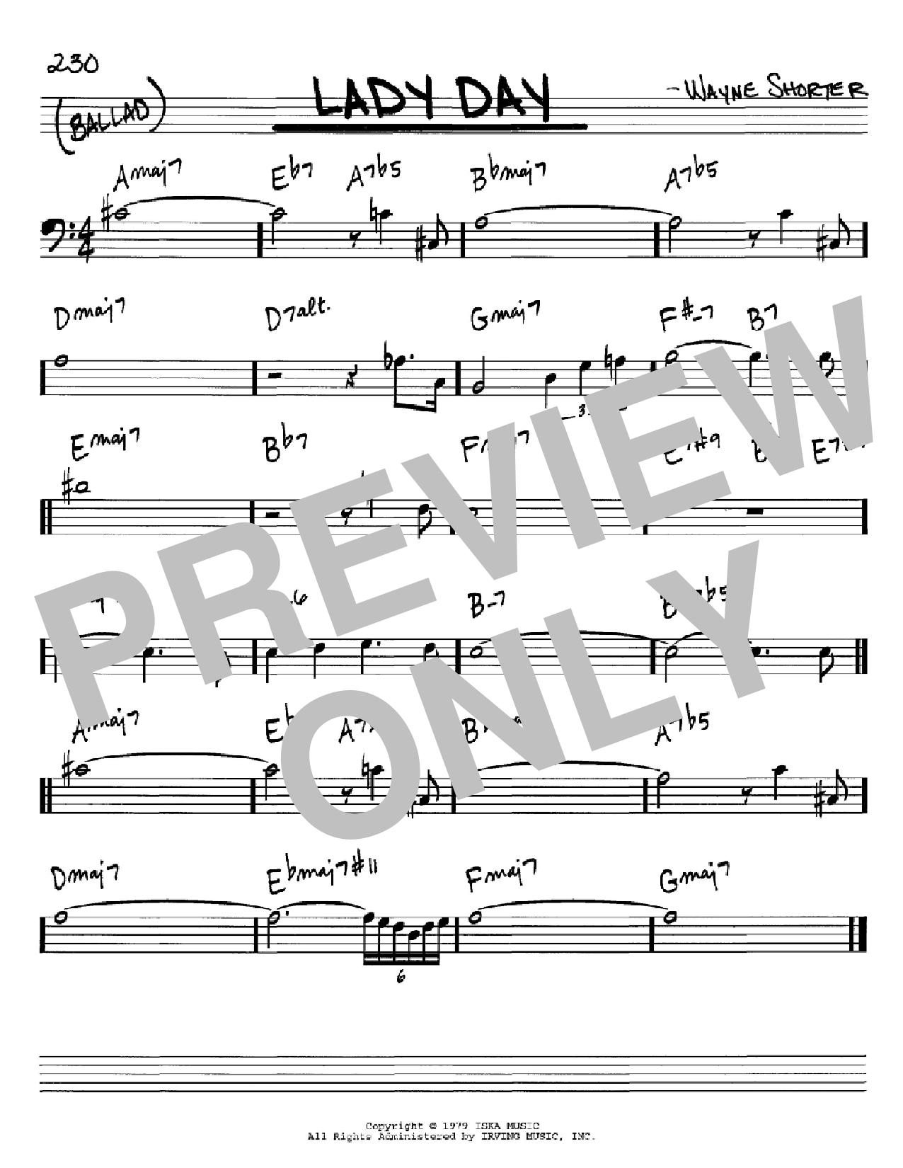 Partition autre Lady Day de Wayne Shorter - Real Book, Melodie et Accords, Inst. En cle de Fa