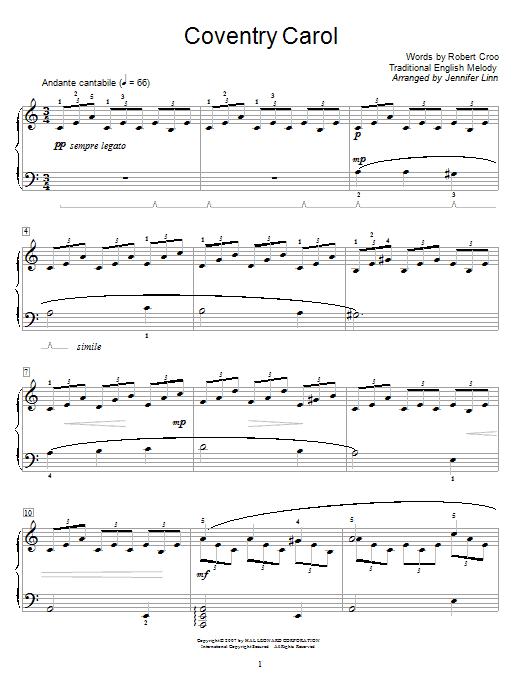 Partition piano Coventry Carol de Jennifer Linn - Piano Facile