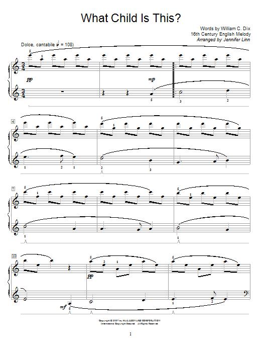 Partition piano What Child Is This? de Jennifer Linn - Piano Facile
