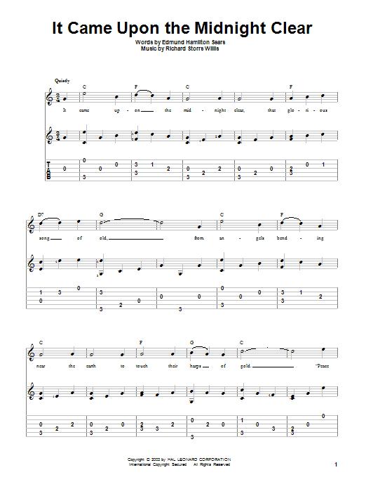 Tablature guitare It Came Upon The Midnight Clear de Edmund Hamilton Sears - Tablature Guitare