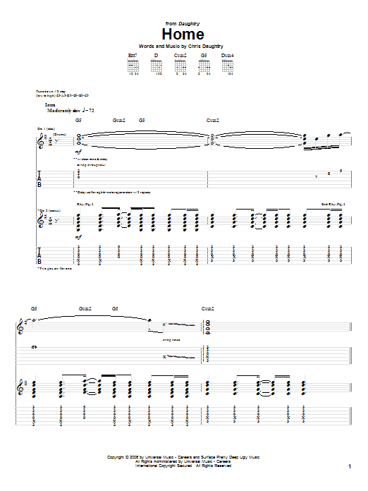 Tablature guitare Home de Daughtry - Tablature Guitare