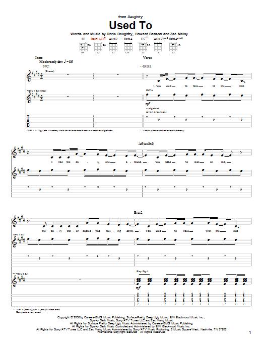 Tablature guitare Used To de Daughtry - Tablature Guitare