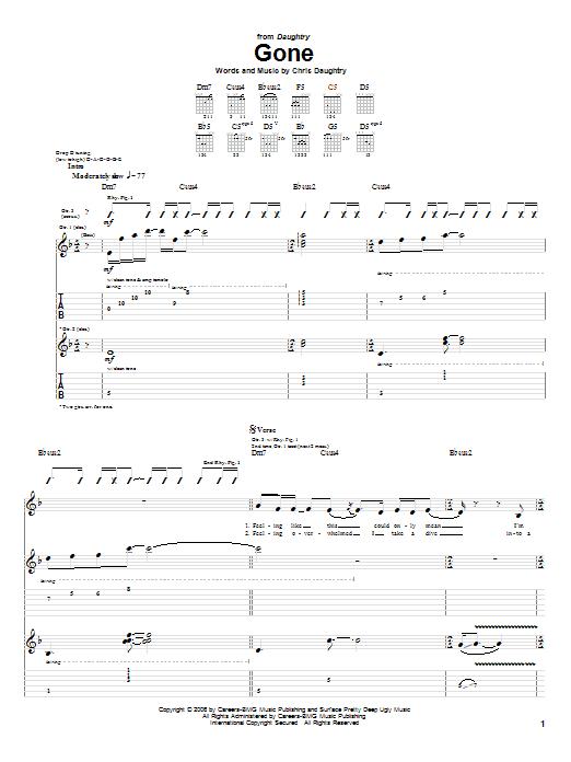 Tablature guitare Gone de Daughtry - Tablature Guitare