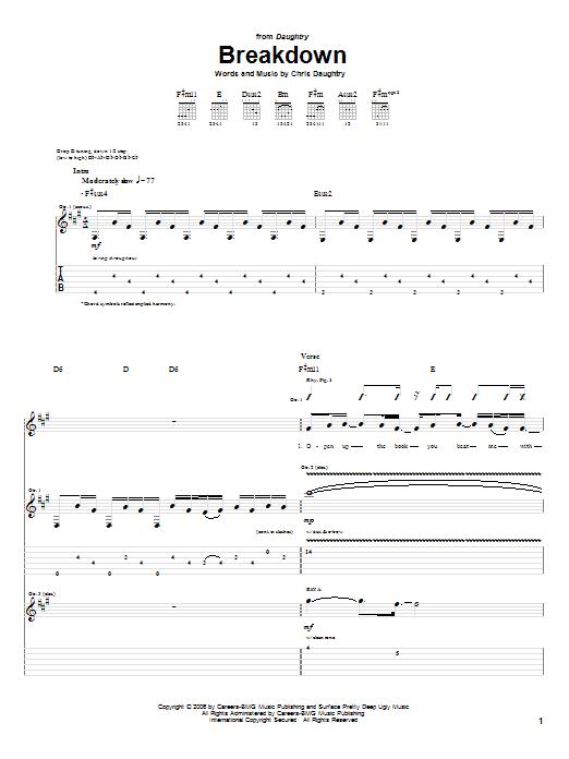 Tablature guitare Breakdown de Daughtry - Tablature Guitare