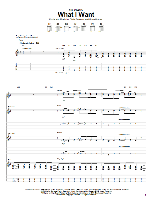 Tablature guitare What I Want de Daughtry featuring Slash - Tablature Guitare