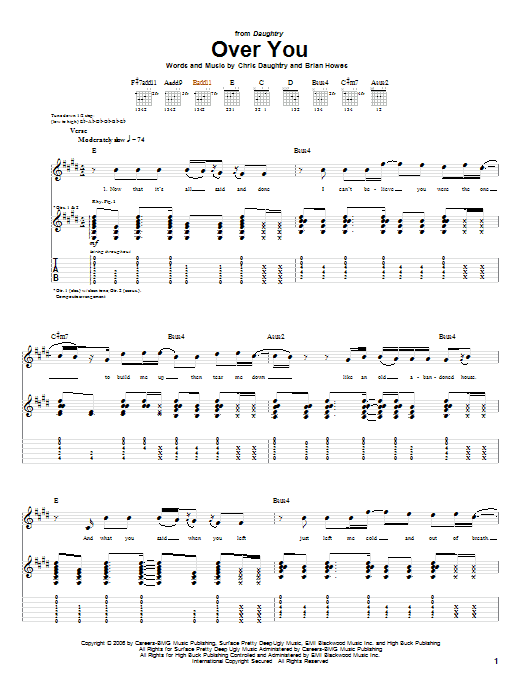 Tablature guitare Over You de Daughtry - Tablature Guitare