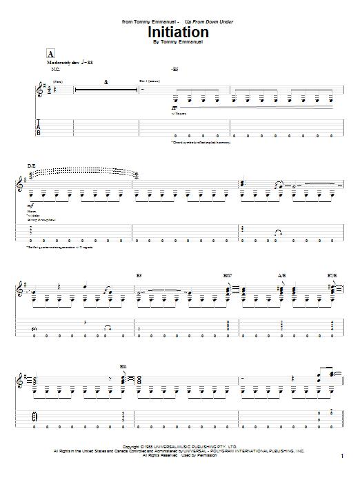 Tablature guitare Initiation de Tommy Emmanuel - Tablature Guitare