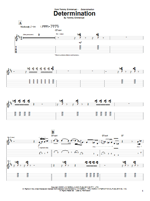 Determination sheet music for guitar solo (tablature) by Tommy Emmanuel