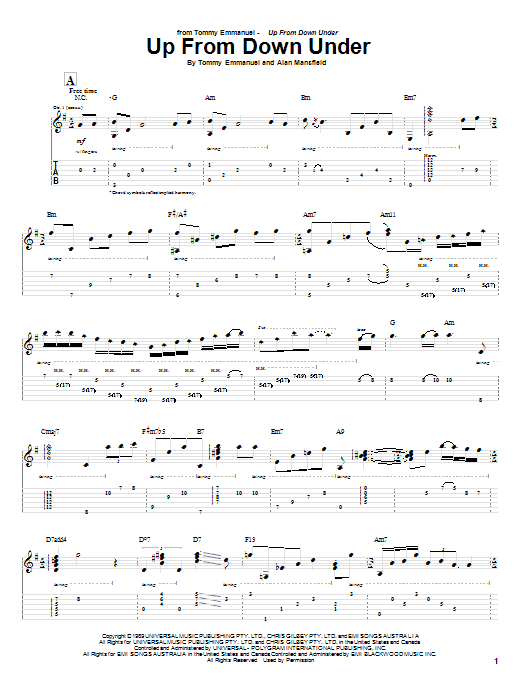 Tablature guitare Up From Down Under de Tommy Emmanuel - Tablature Guitare