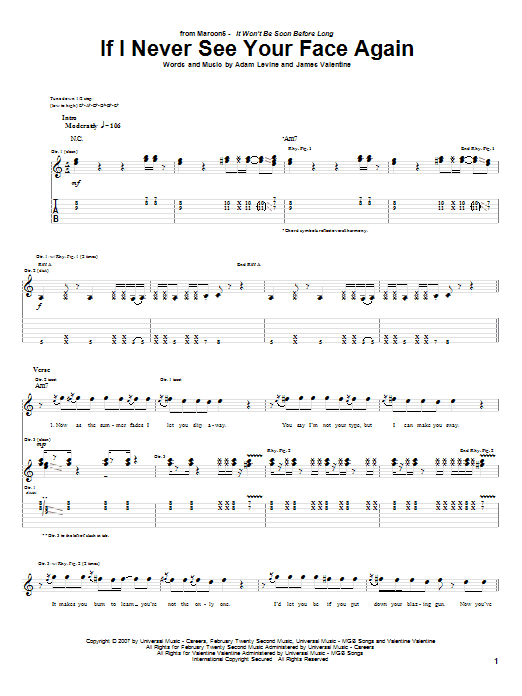 Tablature guitare If I Never See Your Face Again de Maroon 5 - Tablature Guitare
