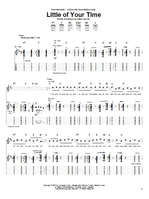 Tablature guitare Little Of Your Time de Maroon 5 - Tablature Guitare