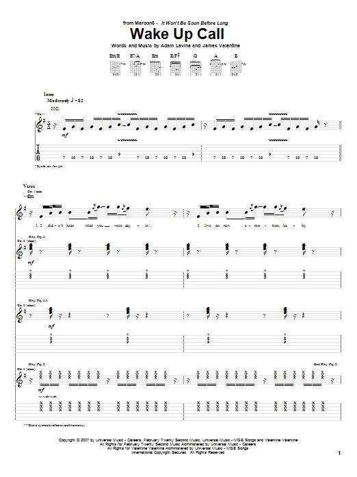 Tablature guitare Wake Up Call de Maroon 5 - Tablature Guitare