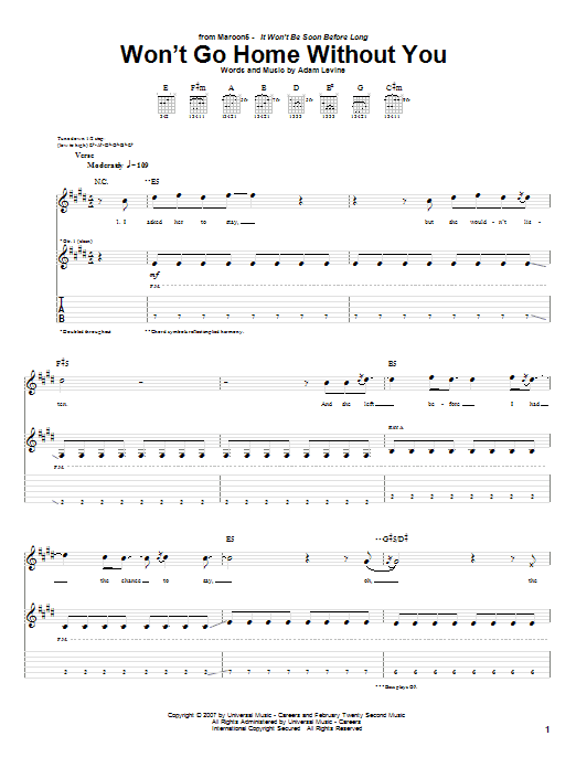 Tablature guitare Won't Go Home Without You de Maroon 5 - Tablature Guitare