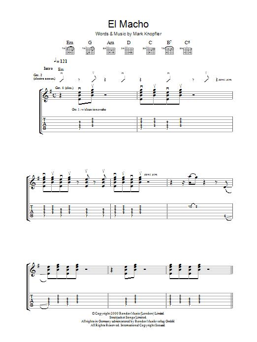 El Macho by Mark Knopfler - Guitar Tab - Guitar Instructor