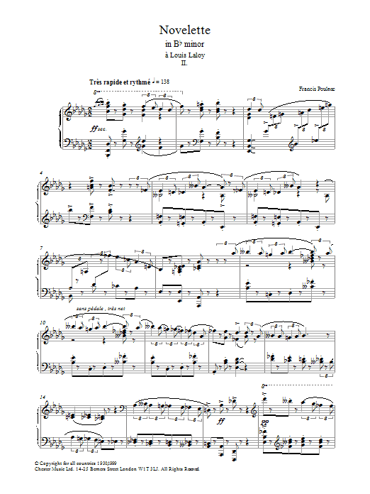 Novelette In Bb Minor, II sheet music for piano solo by Francis Poulenc