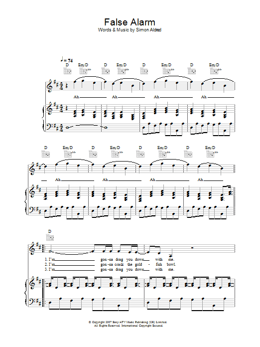 False Alarm sheet music for voice, piano or guitar by Simon Aldred