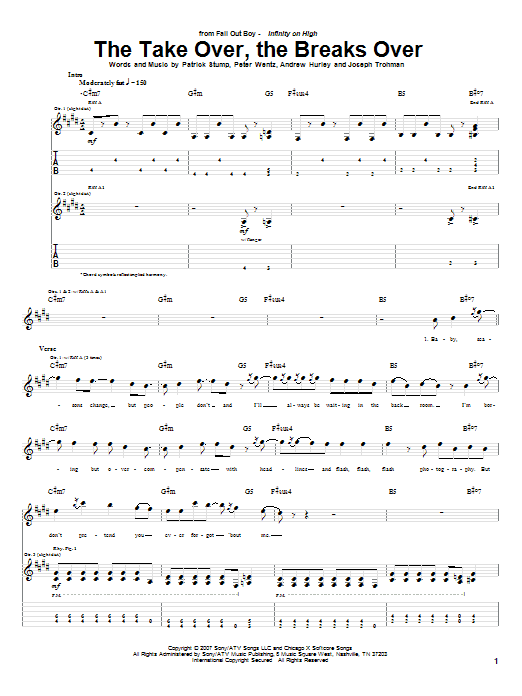 Tablature guitare The Take Over, The Breaks Over de Fall Out Boy - Tablature Guitare