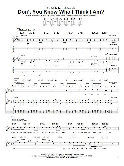 Tablature guitare Don't You Know Who I Think I Am? de Fall Out Boy - Tablature Guitare