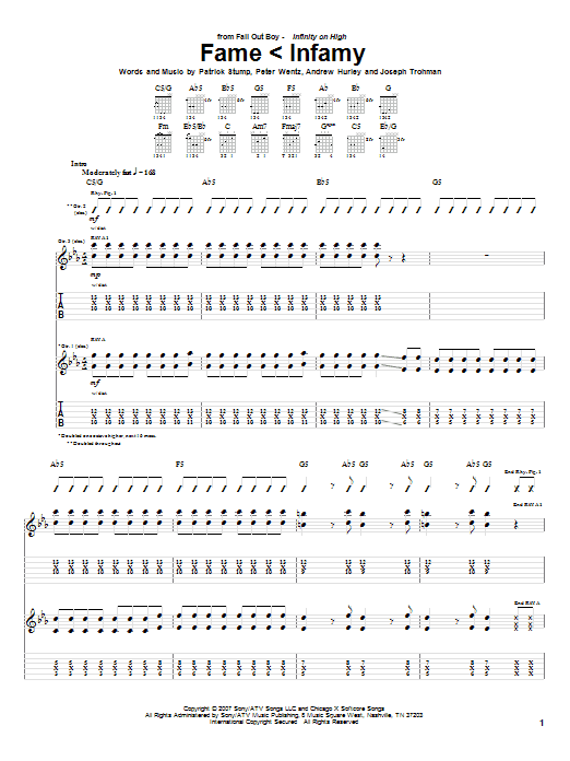 Tablature guitare Fame < Infamy de Fall Out Boy - Tablature Guitare