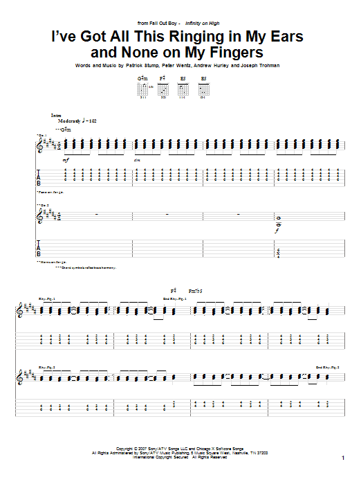 Tablature guitare I've Got All This Ringing In My Ears And None On My Fingers de Fall Out Boy - Tablature Guitare
