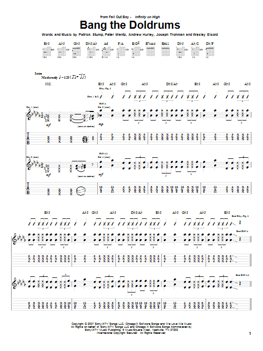 Bang The Doldrums sheet music for guitar solo (tablature) by Wesley Eisold