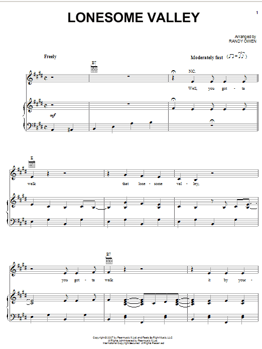 Lonesome Valley sheet music for voice, piano or guitar by Randy Owen