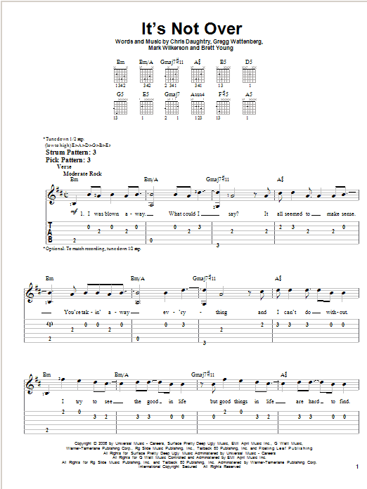 It's Not Over sheet music for guitar solo (easy tablature) by Mark Wilkerson