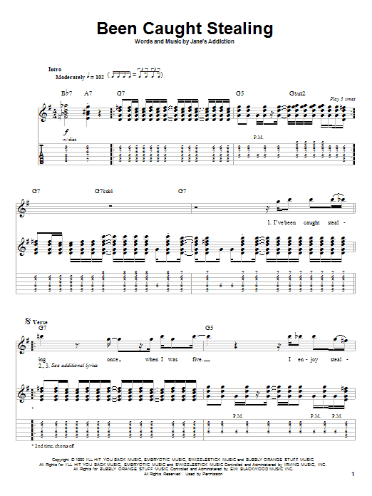 Been Caught Stealing sheet music for guitar solo (tablature, play-along) by Jane's Addiction
