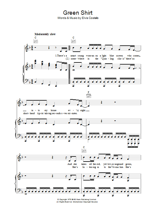 Green Shirt sheet music for voice, piano or guitar by Declan Macmanus