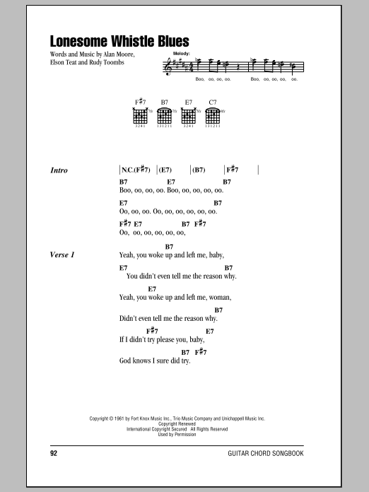 Lonesome Whistle Blues sheet music for guitar solo (chords, lyrics, melody) by Elson Teat