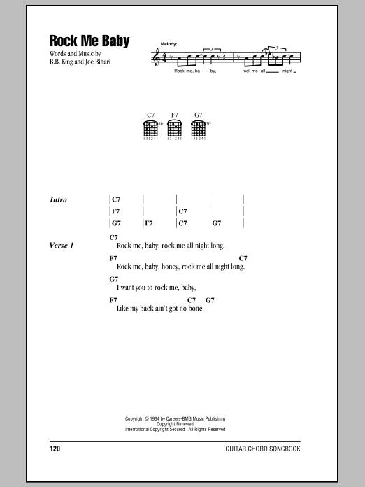 Rock Me Baby sheet music for guitar solo (chords, lyrics, melody) by Joe Bihari