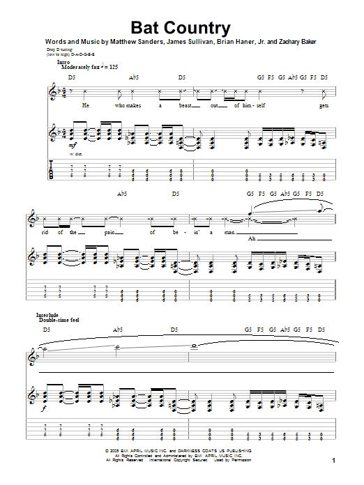 Bat Country Guitar Tab by Avenged Sevenfold (Guitar Tab u2013 77340)
