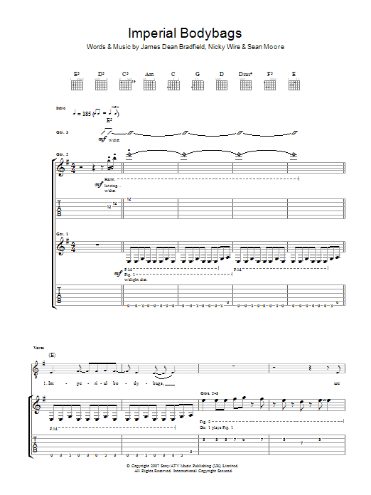 Imperial Bodybags sheet music for guitar solo (tablature) by Sean Moore